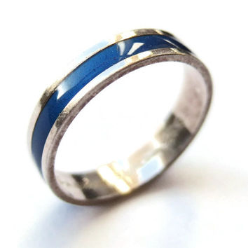 Vintage David Andersen enamel and sterling silver ring, Norwegian silver, modernist ring, royal blue, cobalt blue, 925 silver, 1970s, #217.