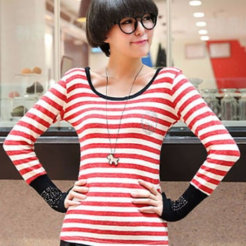 Red Beaded Long Cuff Sleeve Striped Sweater with Scarf