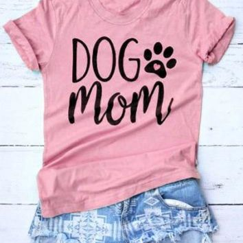 Dog Mom Funny Letter Printed T-Shirt Dog Paw Heart Tops Dog Mom Harajuku Crewneck Hipster Graphic Cotton Tee Mom pink Shirts