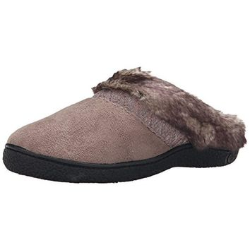 Isotoner Womens Henna Microsuede Faux Fur Clog Slippers