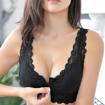 Female Vest Front Zipper Push Up Bra Full Cup Sexy Lace Bras For Women Bralette Top Plus Size Seamless Wireless Gather Brassiere