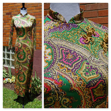 Vintage 60s Long Full Length Dress, Asian Chenogsam, Gold Frog Accents, Side Slit, Groovy Floral and Paisly Print, Evening, Party