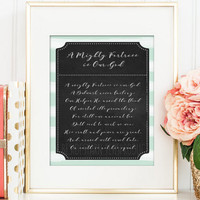 A Mighty Fortress is Our God Hymn Art, Christian Wall Art, Mint Green Chalkboard Print, Christian Art, Hymn Lyrics Hymn Print Christian Gift