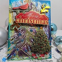 Merry Christmas Mixed Media Canvas Board. Ready to Ship