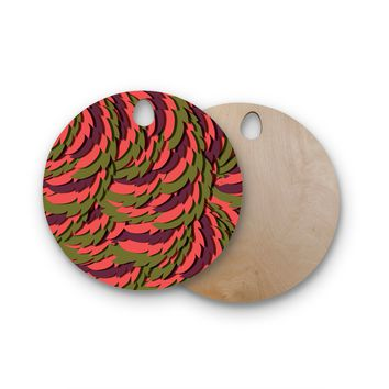 """Akwaflorell """"Wings III"""" Red Brown Round Wooden Cutting Board"""