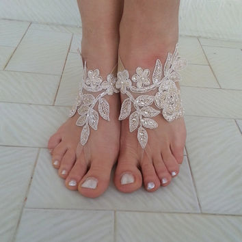 Champagne Beach wedding barefoot sandals , french lace sandals, wedding anklet, Beach wedding barefoot sandals, embroidered sandals.
