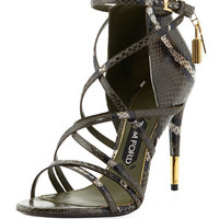 Tom Ford Padlock Ankle-Wrap Snake Sandal, Military