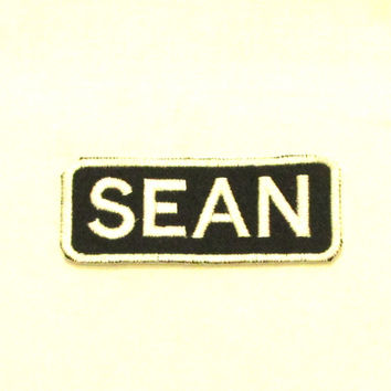 Sean White on Black Iron on Name Badge Patch for Biker Vest NB256