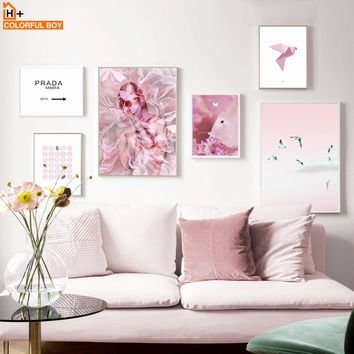 Wall Art Print Pink Bird Minimalism Canvas Painting Flower Posters And Prints Nordic Wall Pictures Salon Kids Home Wall Decor