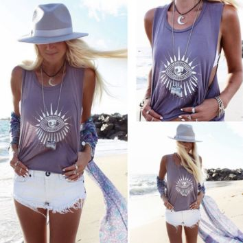 Summer Ethnic Eyes Print Sleeveless T Shirt Tank Top
