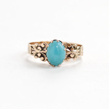 Antique 10k Rosy Yellow Gold Blue Turquoise Victorian Ring - Late 1800s Edwardian Blue Gem Repousse Filigree Fine Jewelry