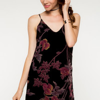 Sleeveless Floral Print Velvet Burnout Dress - Black/Multi