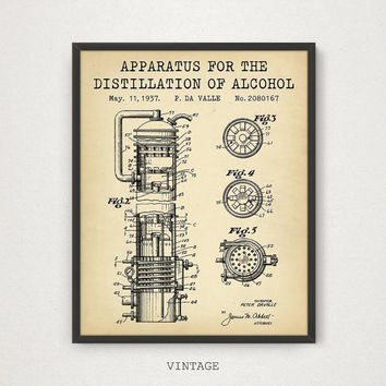 Alcohol Poster, Distillation Of Alcohol Patent, Digital Blueprint Art, Bar and Pub Decor, Whiskey Liquor Alcohol Gifts, Whiskey Poster Print