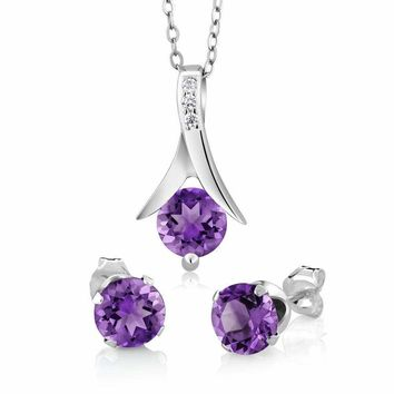 """2.25 Ct Round Purple Amethyst 925 Silver Pendant and Earrings Set 18"""" Chain"""