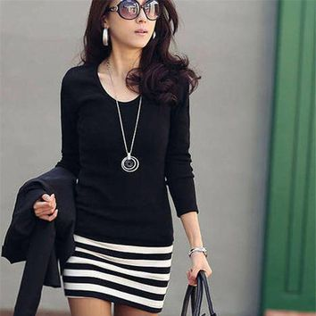 DCCKIHN New Casual Summer Women Dress Sexy Lady Long Sleeve Crew Neck Striped Slim Fit Party Mini Dress Beach Dresses Female Vestidos
