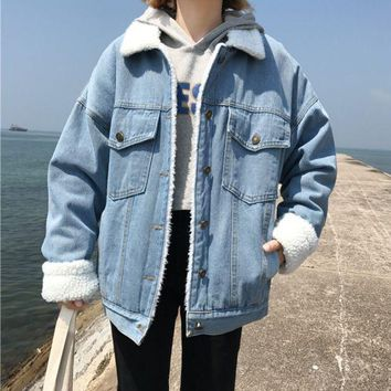 DCCK8H2 Winter Vintage Denim Jacket Women Thicken Lamb Fur Warm Fleece Jeans Womens Jackets Coat Boyfriend Windbreaker Parka Casaco