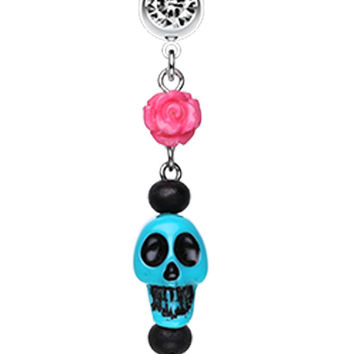 Colorful Rose Skull Leaf Dangle Belly Button Ring