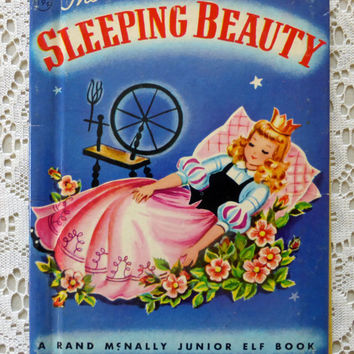 The Sleeping Beauty, Rand McNally Junior Elf Book, 1951 Fairy Tale Vintage Story Book, First Edition Blue Pink Classic Sleeping Beauty