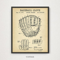 Baseball Glove Patent Art, Digital Download, Baseball Printable Poster, Vintage Baseball Gloves Print, Baseball Fan Gifts, Man Cave Decor