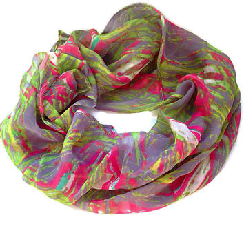 Sanibel Island Scarf. Pink, Purple, Lime Green Speckled Scarf. Women's scarf, simple, Infinity Scarf, Knot. Spring, Summer, Lightweight