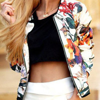 White Floral Print Front Zipper Jacket