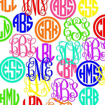 "FLASH SALE 2"" Monogrammed Decal - by Mad about Monograms -  Perfect for Rain Boots, Tablets, Phones, EReaders"