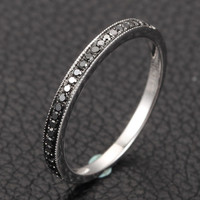 Pave Black Diamond Wedding Band Half Eternity Anniversary Ring 14K White Gold Milgrain
