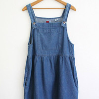 Vintage 90s Denim Babydoll Bib Dress // Blue Denim Button Down Overalls