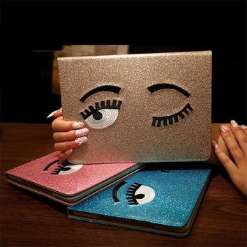 For Apple iPad Mini 123 tablet case Glitter Shining Big Eyes Design smart pu leather Protective Cover case For iPad Mini 3 Shell