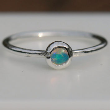 Australian Opal Ring , Size 4 Opal Ring,  Rustic Opal Stacking Ring , October Birthstone , Pinky Ring , Silver RIng,  Maggie McMane Designs