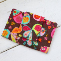 Fabric Wallet, women's wallet, women's gift idea, velcro or snap closure, ready to ship, yellow wallet, floral print, cute accessory