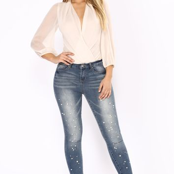Pandora Pearl Skinny Jeans - Medium Blue Wash