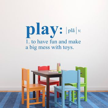 Play Definition Wall Decal - Dictionary definition Decal - Children Wall Decal - Large