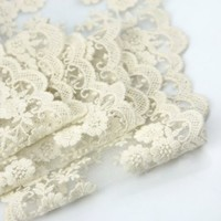 """Wholeport 3.9"""" Beige Lace Trim Cotton Embroidery Wedding Fabric By the Yard"""