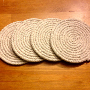 Hand-Wrapped Cotton Rope Coasters (Set of 4)
