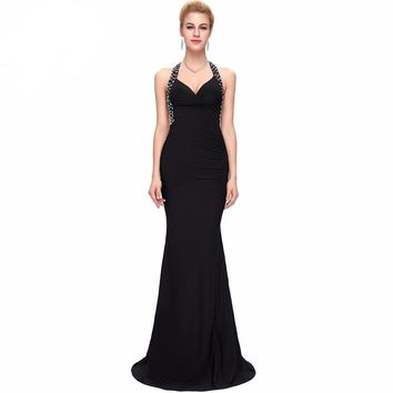 Long Evening Dresses New Arrival Backless sequins sexy Black Red Formal Evening Gowns Mermaid Dresses