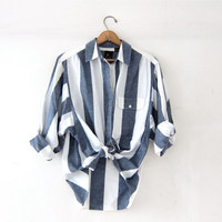 20% OFF SALE Vintage Striped Shirt. Preppy Cotton Button Down. Natural white blue cotton. Pocket Shirt.