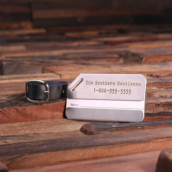 Personalized Luggage and Travel Tag with Leather Band