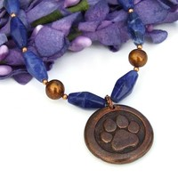 Dog Paw Print and St Francis Pendant Necklace, Blue Sodalite Handmade Rescue Jewelry