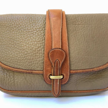 Vintage 1980s 'Dooney & Bourke' pebbled taupe leather shoulder bag with tan leather trims