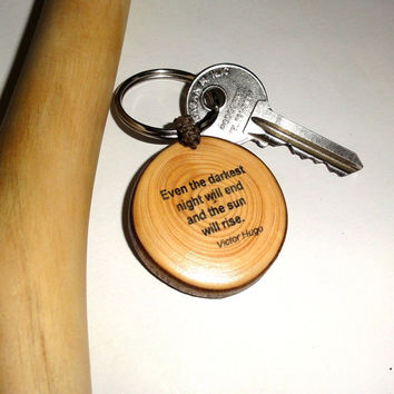 """Keychain, keyring Victor Hugo > Quotes > Quotable Quote """"Even the darkest night will end and the sun will rise."""" Les Misérables. Custom name"""