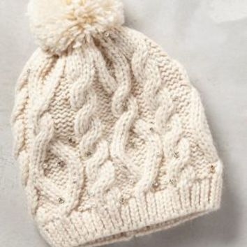 Pearled Cables Beanie by Anthropologie in White Size: One Size Hats