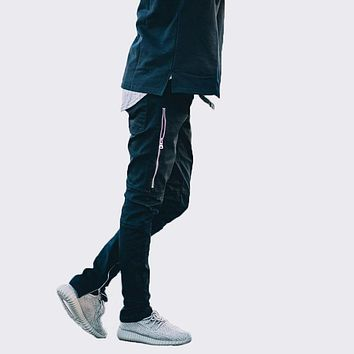 Slim skinny hip hop biker zipper denim jeans