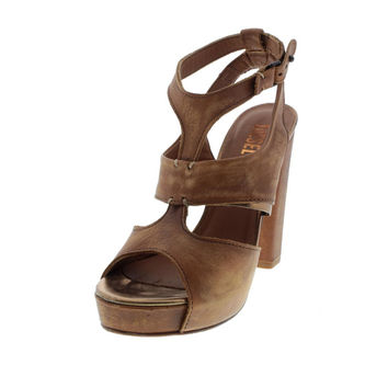 Diesel Womens Les Dames De Cuir Antoinette Leather Platform T-Strap Sandals