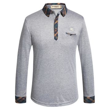 BURBERRY Fashion Men Polo LOGO Embroidery Long-Sleeve Slim Fit Button-up Cotton Casual Polo Tops G-A00FS-GJ