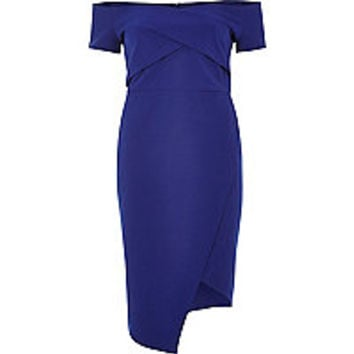 Blue wrap bardot dress