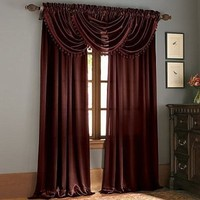 Hilton Window Curtain & Waterfall Fringed Valance Treatments Available In Many Colors (Burgundy, Single Valance) By GoodGram
