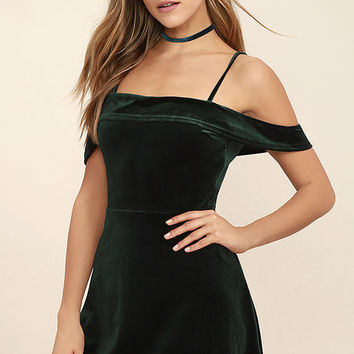 My Kind of Romance Dark Green Velvet Off-the-Shoulder Dress