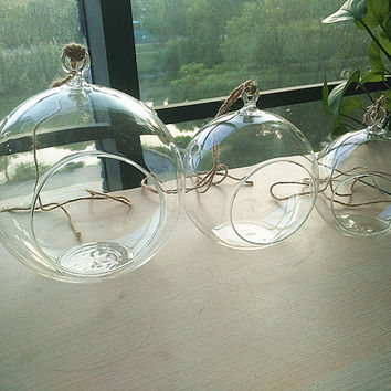 "Air plant holders-4""/5""/6"" glass orb terrarium//hanging glass planter vase//indoor succulent gardening"
