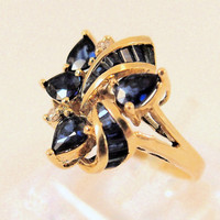 Antique Sapphire ring 18K Solid Gold Yellow Gold Sapphire diamond ring 1950's Stamped Original Fine Jewelry Estate